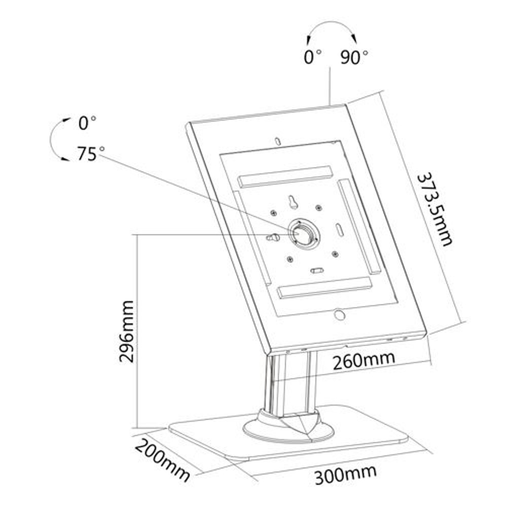 "IPP2602L Allcam IPP2602L 12.9"" iPad Pro Kiosk Security Case Desk Stand"
