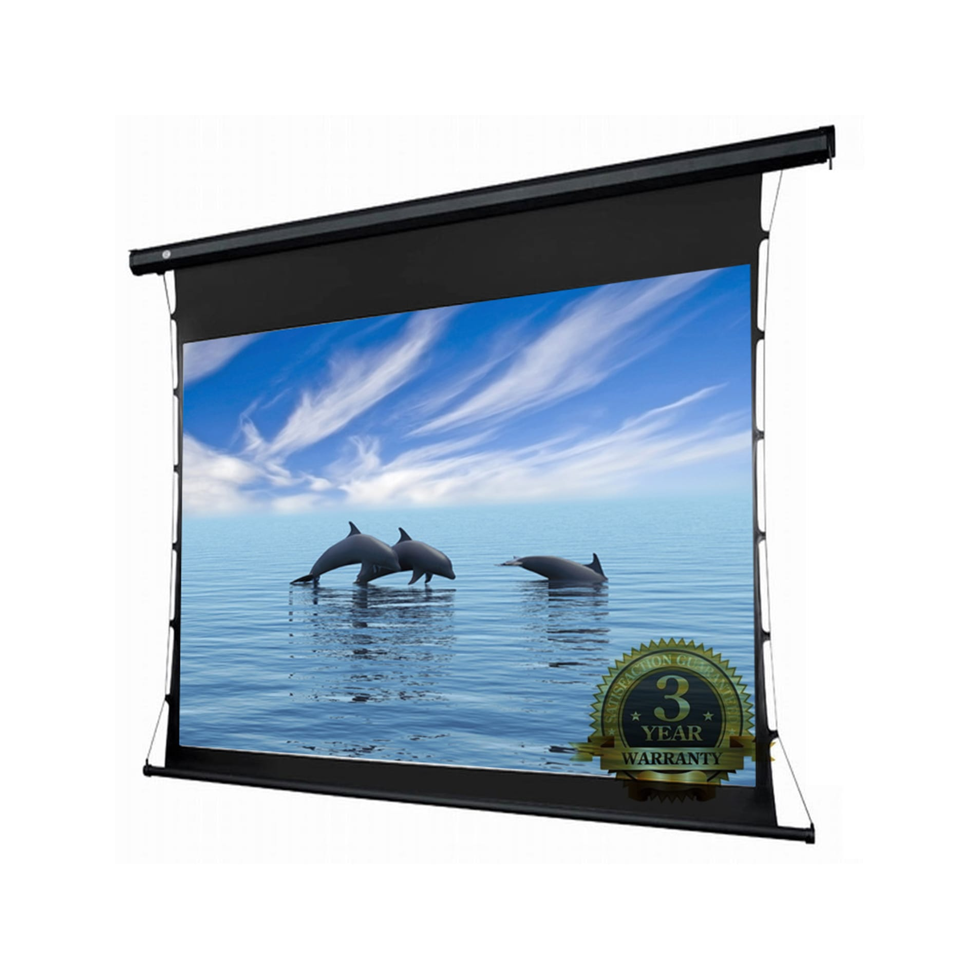 allcam 4K HD 3D compatible projector screen tab-tensioned electric motorized