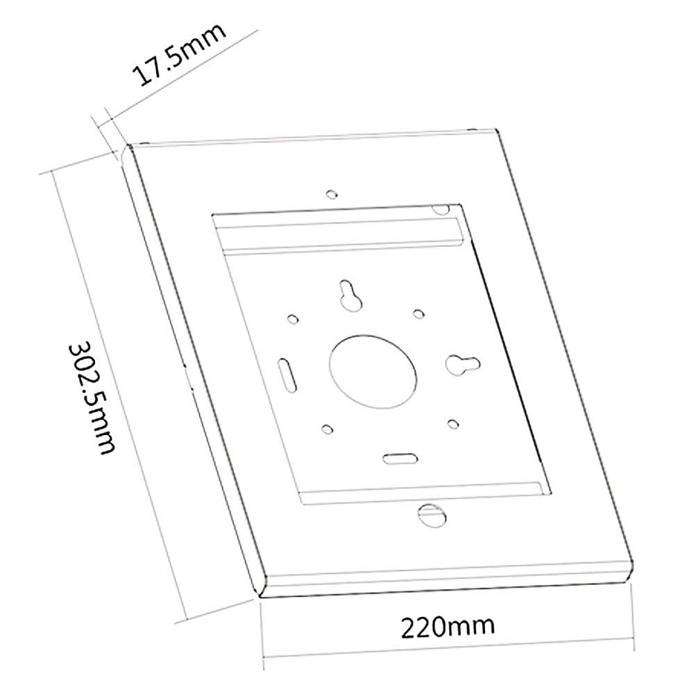 Allcam Anti-theft secure iPad holder Pro 12.9 enclosure case wall mount sizes dimensions