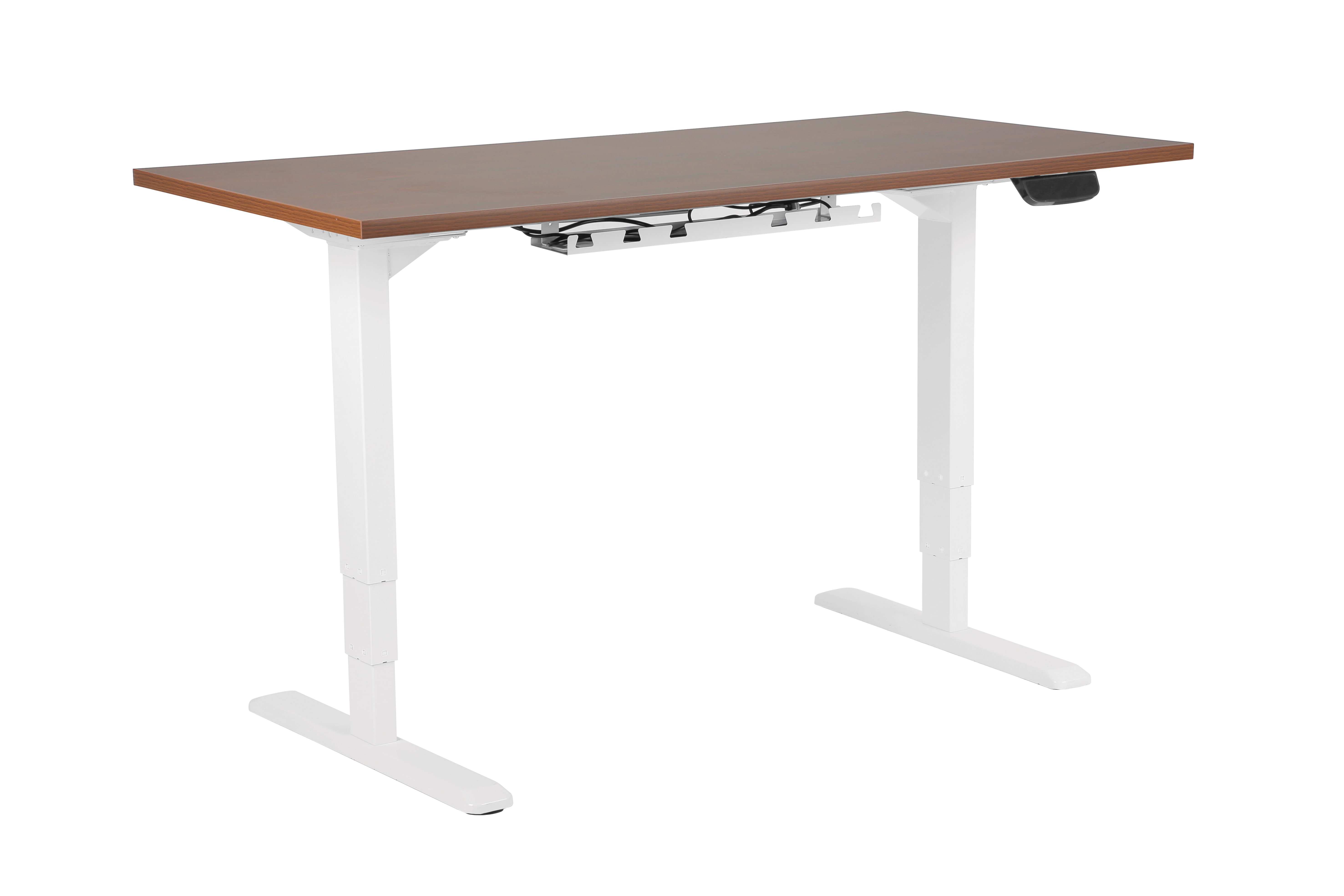 EDF02D electric standing desk with brown worktop
