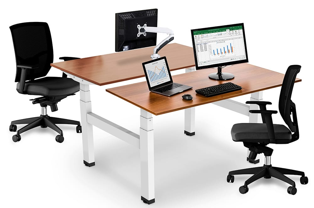 allcam EDF04QW electric double desk height adjustable bench