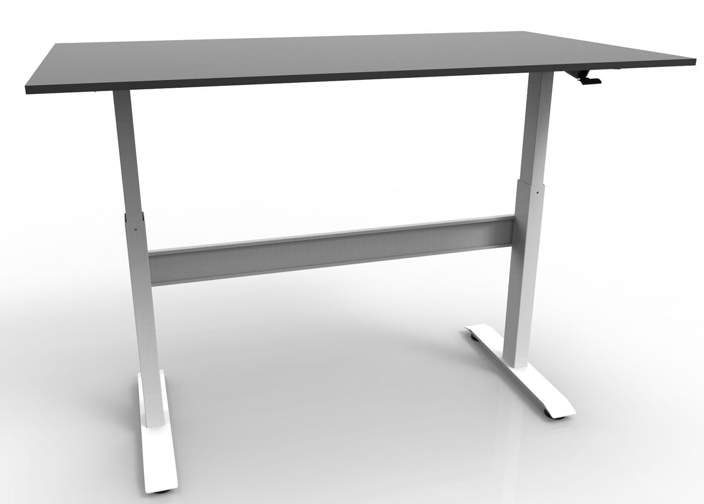 GDF02M gas spring height adjustable standing desk / sit-stand workstation with black worktop