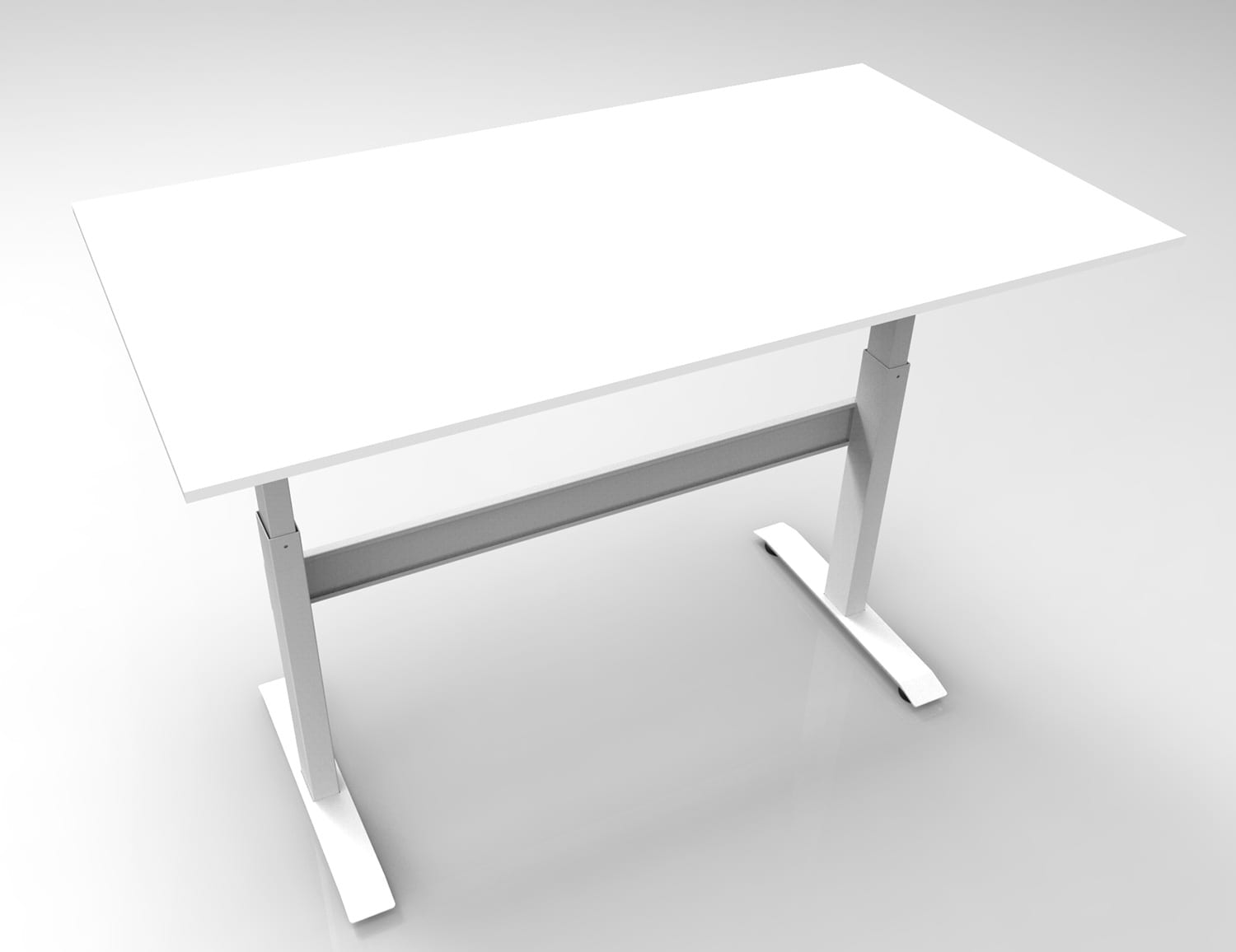 GDF02M gas spring height adjustable standing desk / sit-stand workstation white top