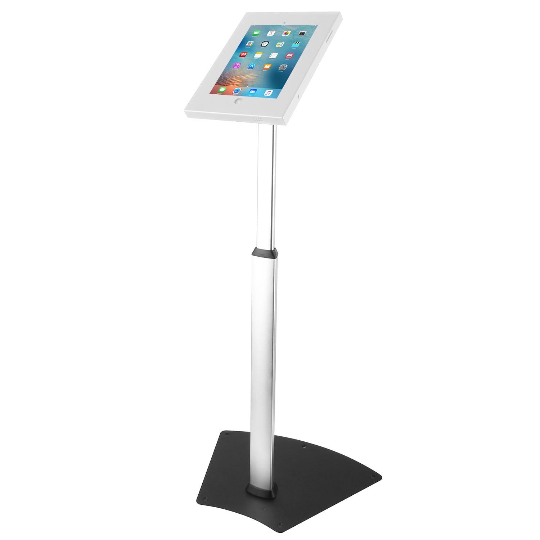 Brateck PAD12-05 iPad Kiosk Floor Stand Height Adjustable Aluminium Pole White