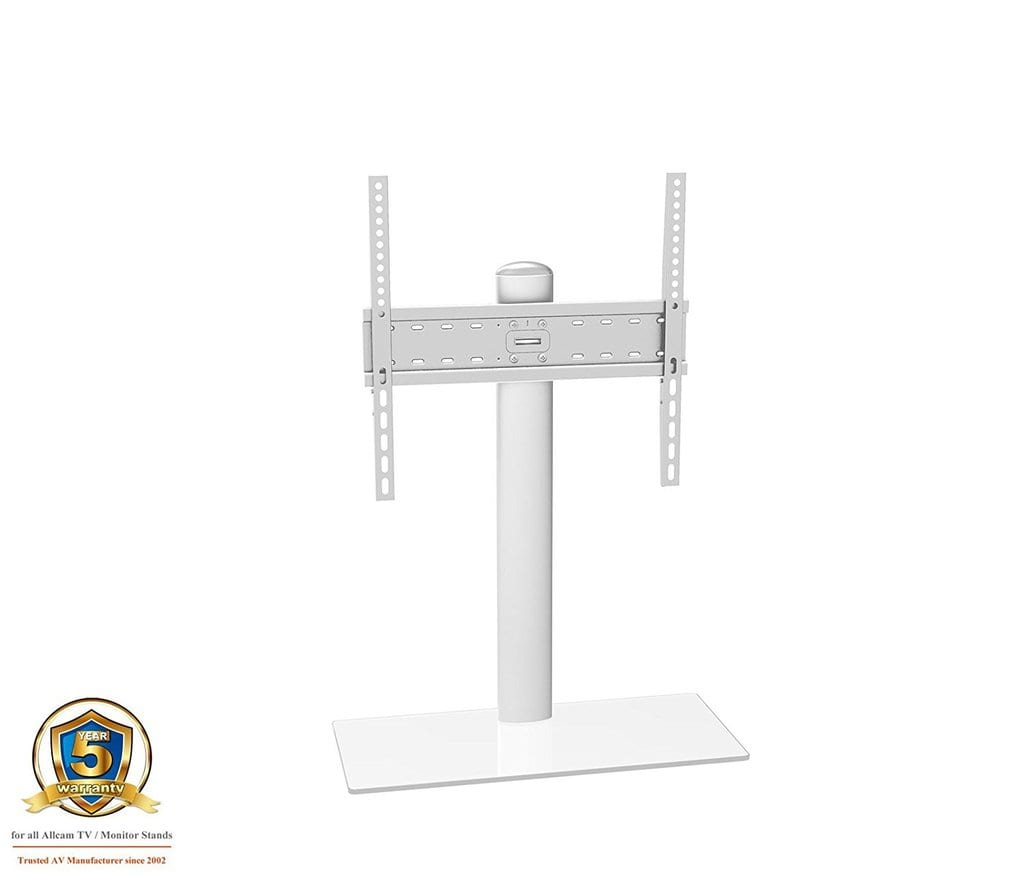 TB01CS TV table stand, up to VESA 600x400, 30Kg, clear glass, silver tube