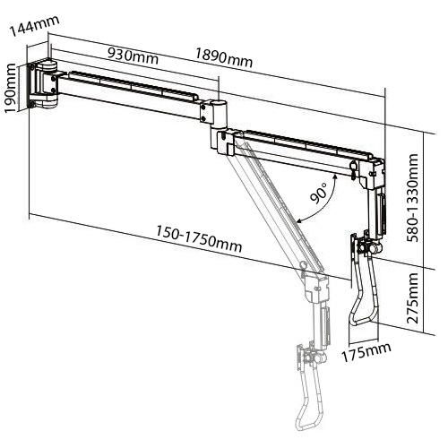 Allcam LRA34 long reach LCD arm sizes dimensions diagram