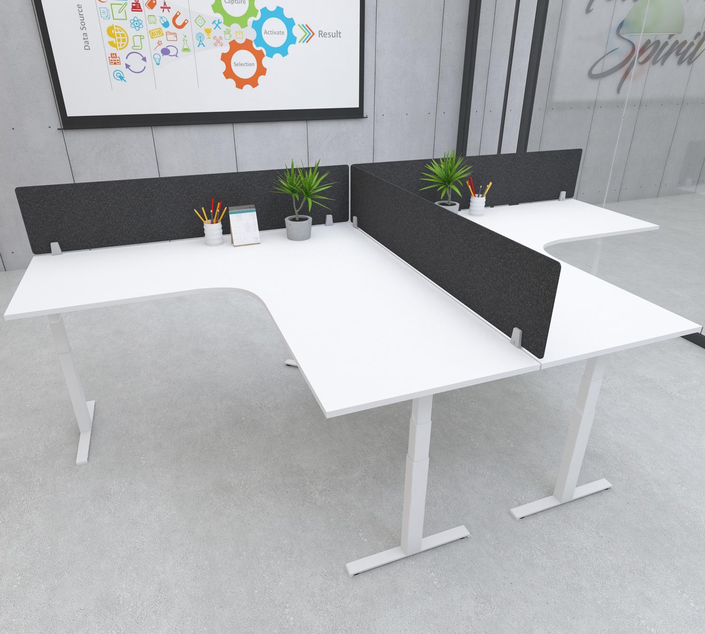 s164 desk top privacy screen modesty panel black