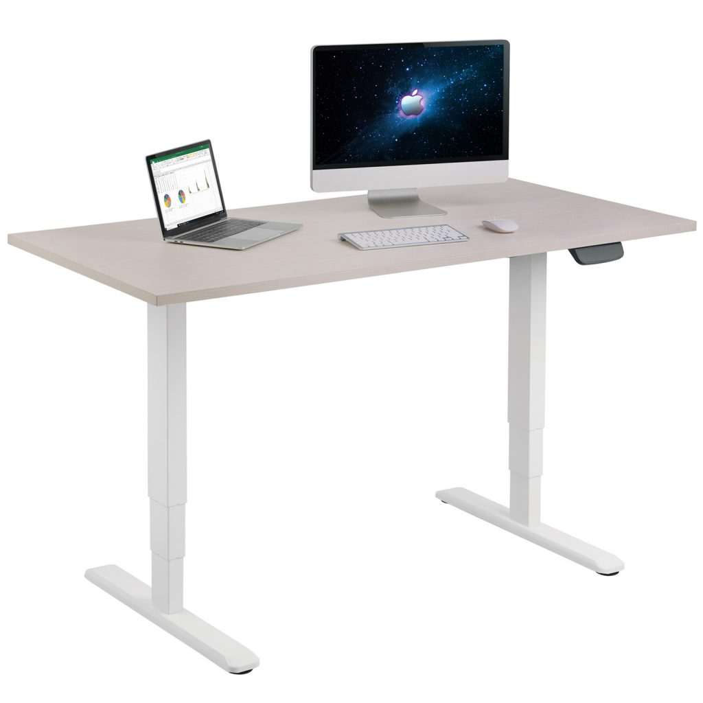 Allcam EDF12D electric sit-stand desk scene with laptop & iMac computer