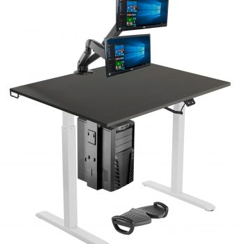 Silver ergonomic office suite sit-stand desk & accessories home working