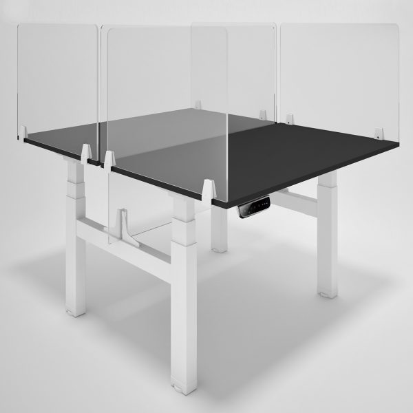 CoughGuard Clear Acrylic Office Desk Screens on electric sit-stand desks