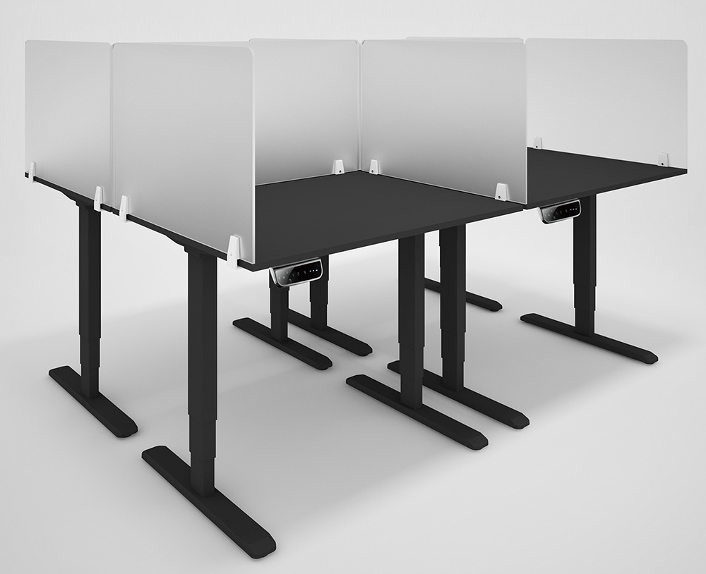 CoughGuard frost acrylic desk screen on electric sit-stand desks