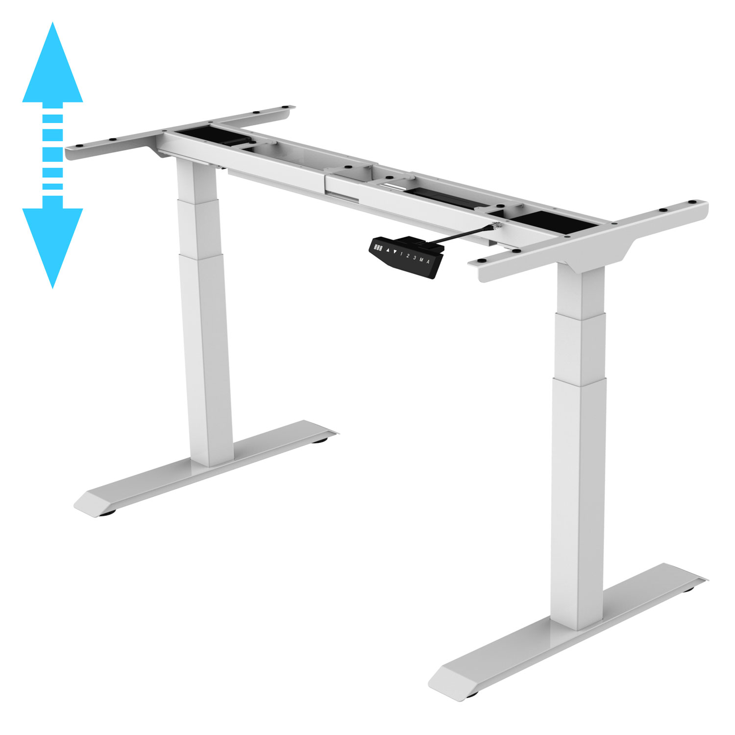 Allcam EDF32DW electric dual motor height adjustable sit stand desk white