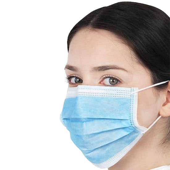 type IIr disposable 3-ply non-woven face mask blue