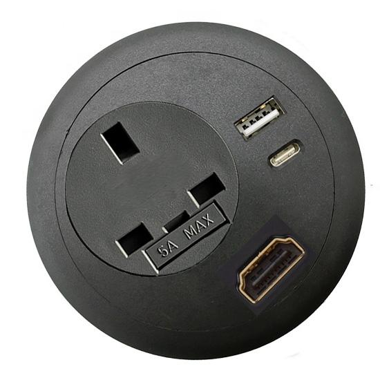 office desk-top grommet power USB A C PD HDMI black top