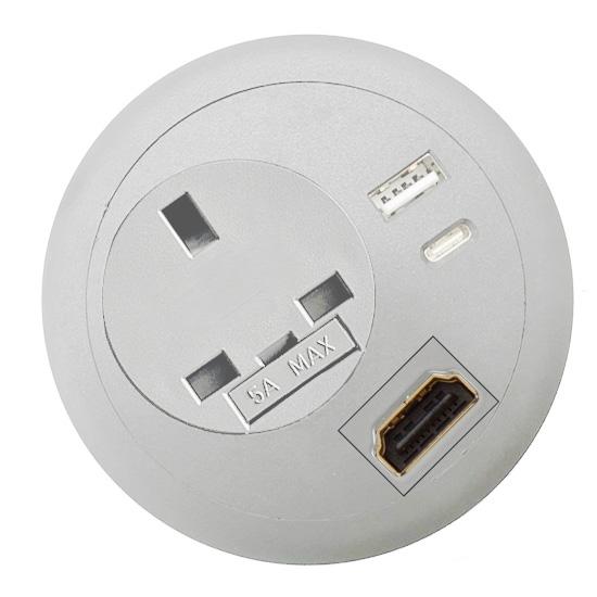 office desk-top grommet power USB A C PD HDMI white top
