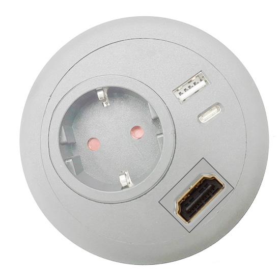 office desk-top grommet power USB A C PD HDMI white EU top