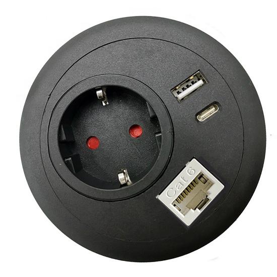 office desk-top grommet power USB A C PD RJ45 Lan Ethernet black EU top
