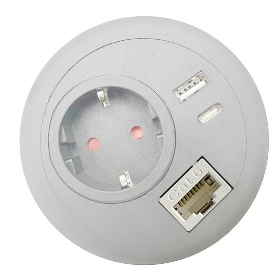 office desk-top grommet power USB A C PD RJ45 Lan Ethernet white EU top