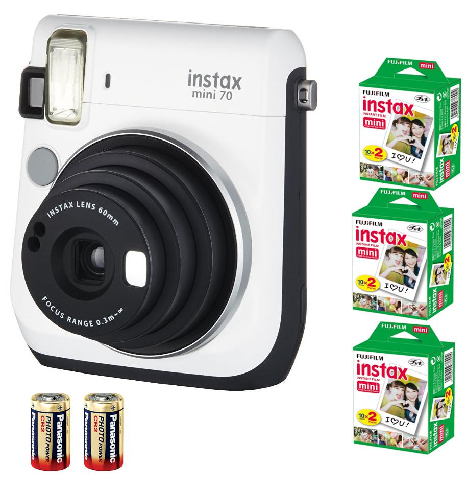 Fuji Instax Mini 70 Instant Camera White Bundle 60 Films 2xCR2 Battery