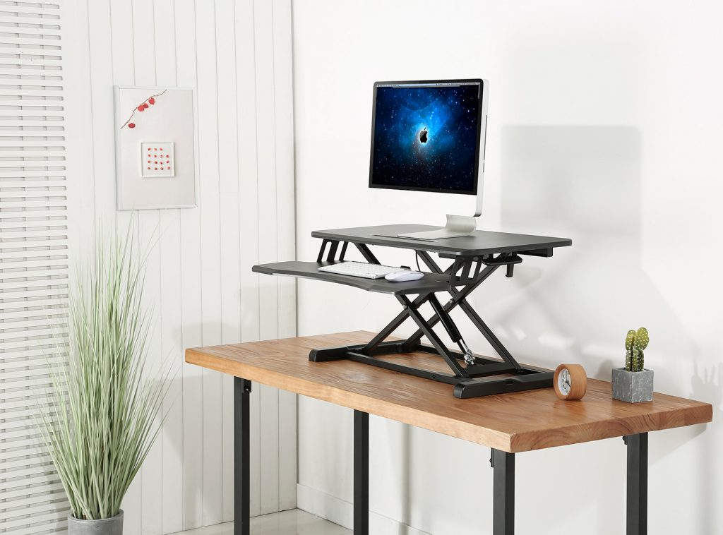 GSS061A Sit-stand desk converter standing workstation gas spring height adjustable black home working