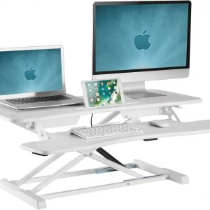 GSS061AW Sit-stand desk converter standing workstation gas spring height adjustable white ipad imac macbook