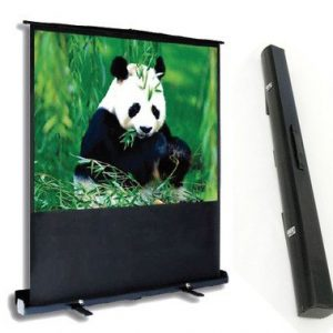 Front view of the PCP90MM portable projector screen alongside its built-in carry case