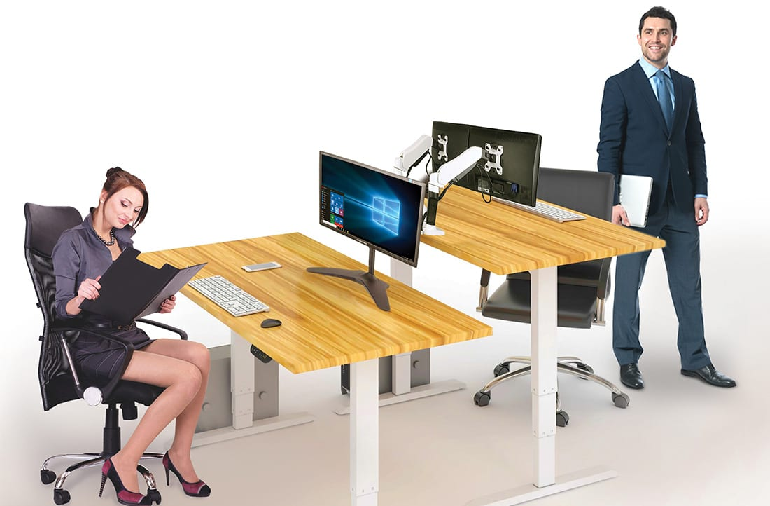 electric height adjustable sit stand workstation demo