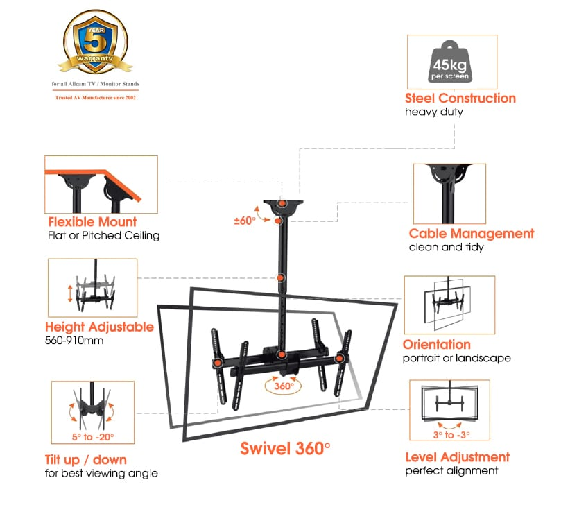 Allcam Single Heavy Duty TV Bracket Ceiling Mount w/ Tilt Up & Down 25°, Swivel 360°, 6° Level Adjustment