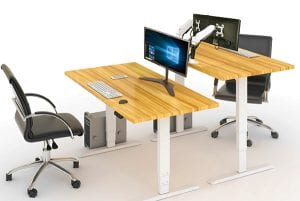 EDF02D height adjustable table with Allcam monitor arms