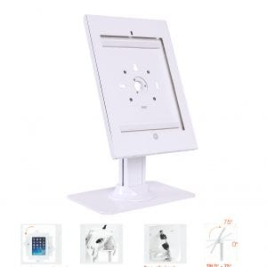 "Allcam Ipad Pro 12.9"" Kiosk Stand Anti-Theft Secure Exhibition Stand w/ Desk Standing Weighted Base, Tilt, Cable Management & Security Lock"