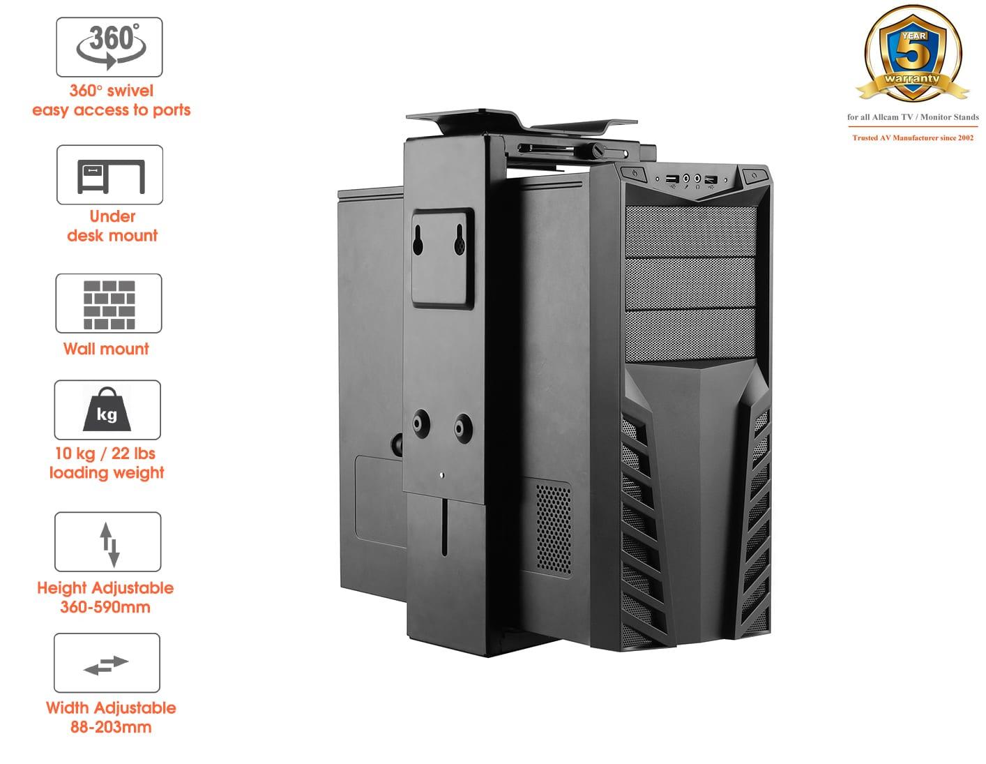 PH6UDb Under Desk CPU holder, White or Black