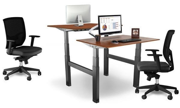 Allcam EDF04QB electric double desk height adjustable work bench Black