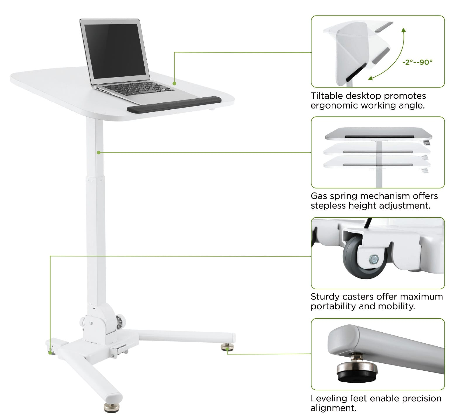 folding height adjustable reception table features
