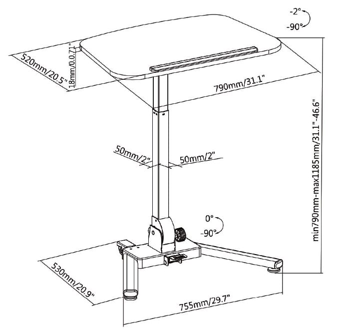 folding height adjustable reception table sizes