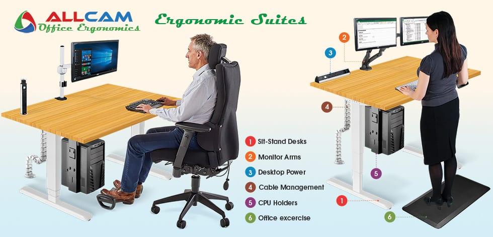 Allcam Ergonomic Suite: sit stand desk workstation