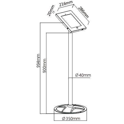 Brateck PAD12-02A Steel Security iPad Kiosk Floor Stand dimensions diagram