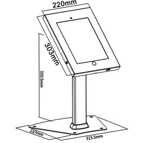 """Brateck PAD1204+2601 iPad pro 12.9"""" Kiosk Table Stand dimensions diagram"""
