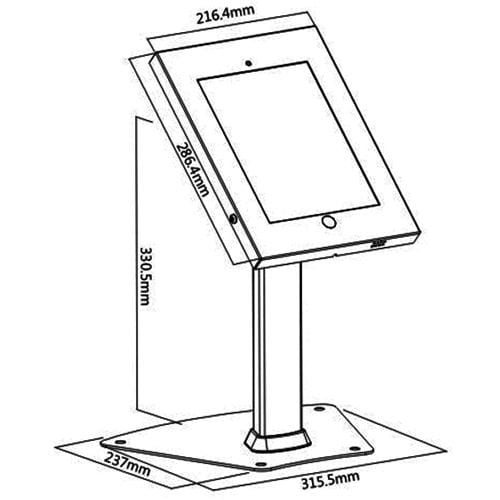 Brateck PAD12-04A iPad Kiosk Tablet Stand sizes dimensions diagram