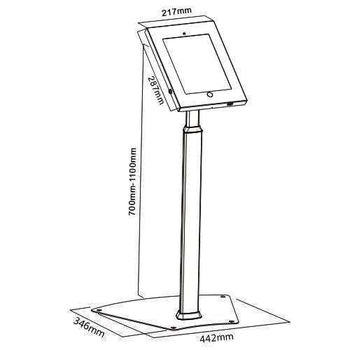 Brateck PAD12-05A iPad Kiosk Floor Stand Dimensions Diagram
