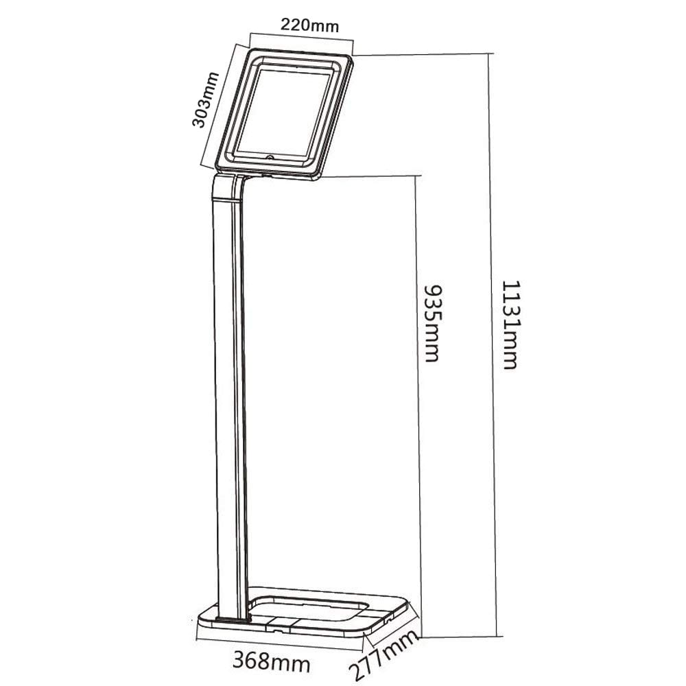 "Brateck PAD1501 2601 iPad pro 12.9"" Tablet Kiosk stand dimensions diagram"
