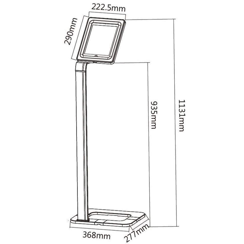 Brateck PAD1501 Universal iPad Tablet Kiosk Floor Stand sizes dimensions diagram