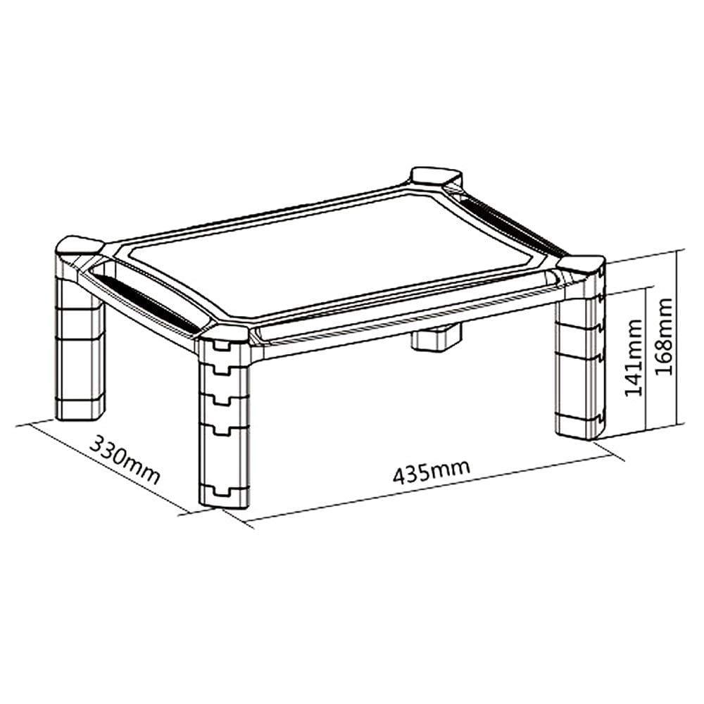 PMS01 Laptop Printer Monitor Stand Riser sizes dimensions diagram