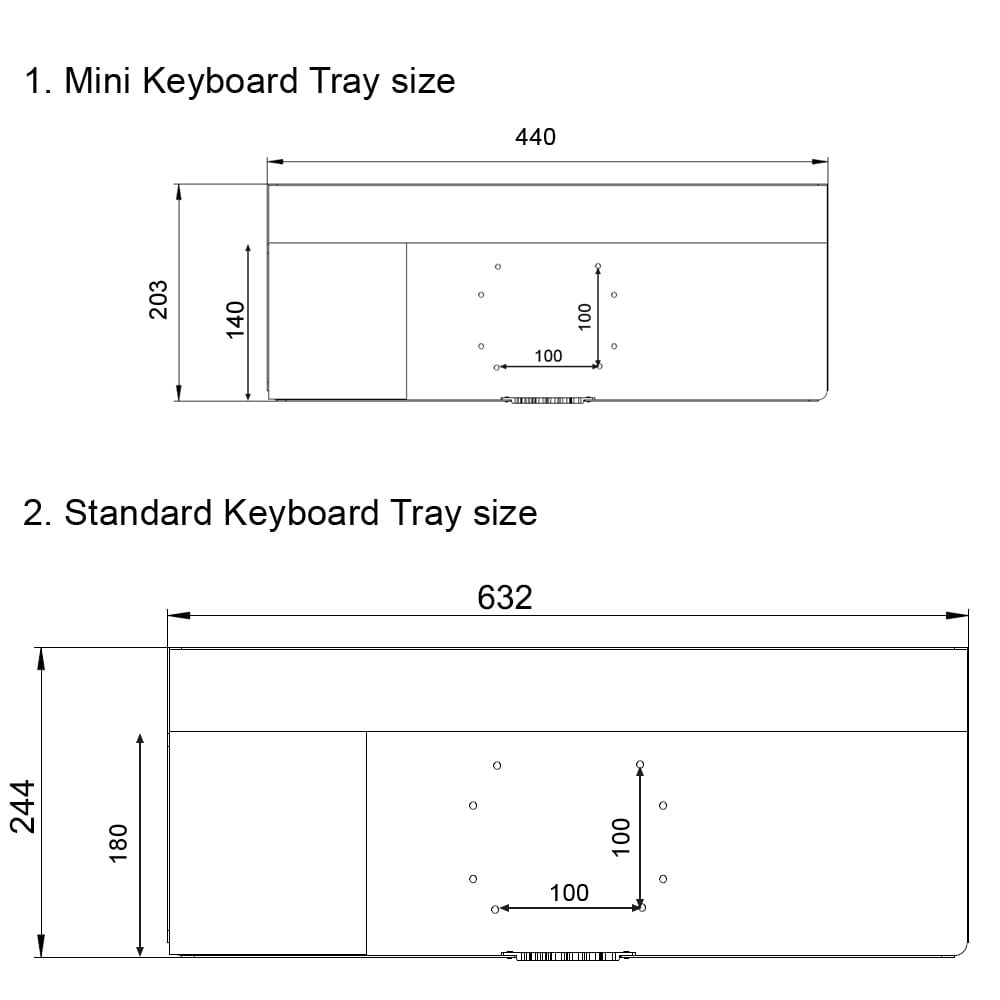 VESA Keyboard Tray sizes comparison for monitor arms and stands