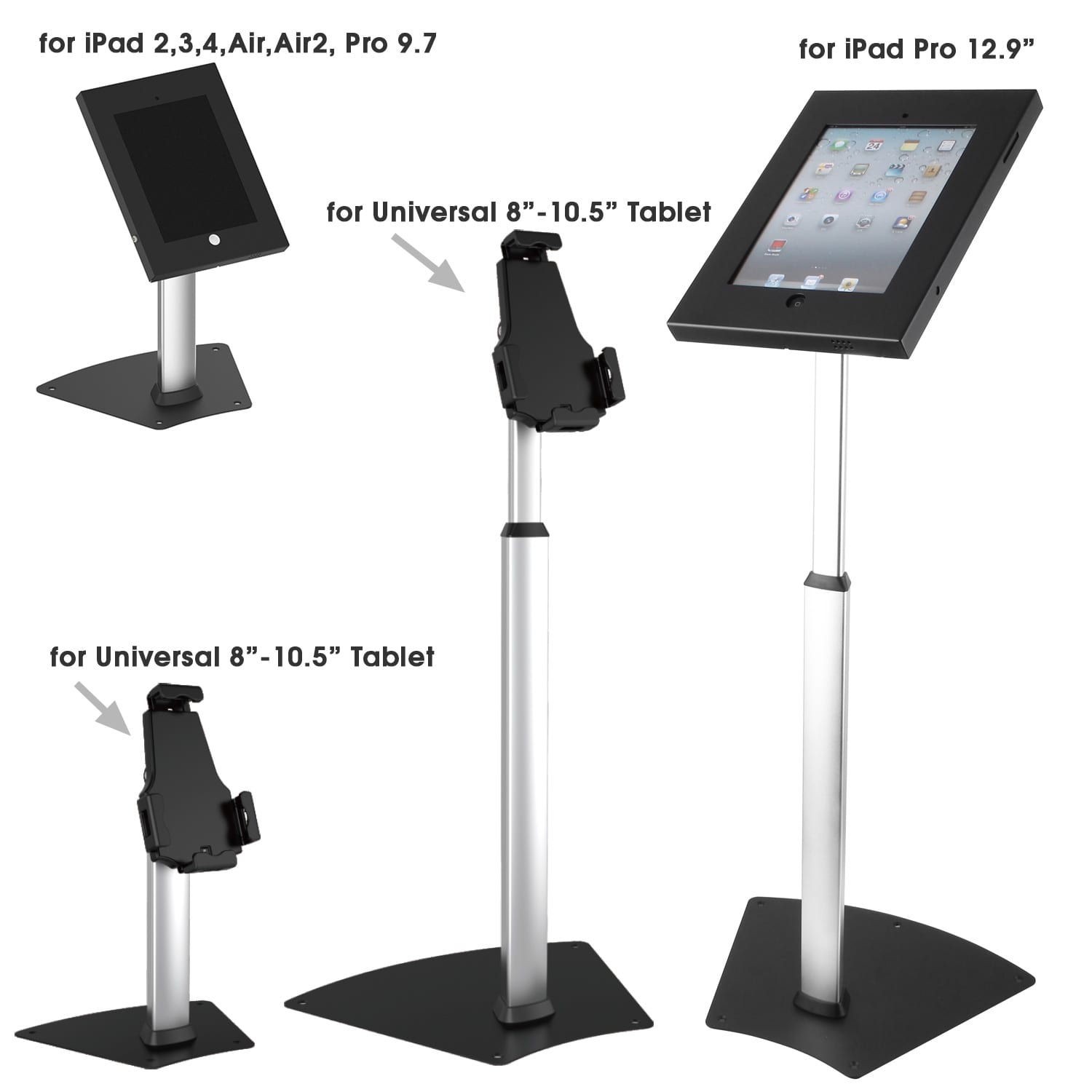 Brateck different tablet enclosures mounted to same riser to form different iPad secure stands