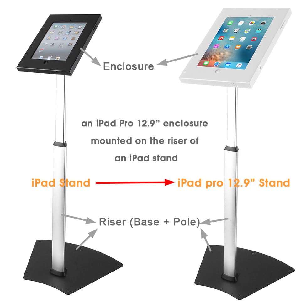 Brateck security enclosures compatible all risers stands base pole