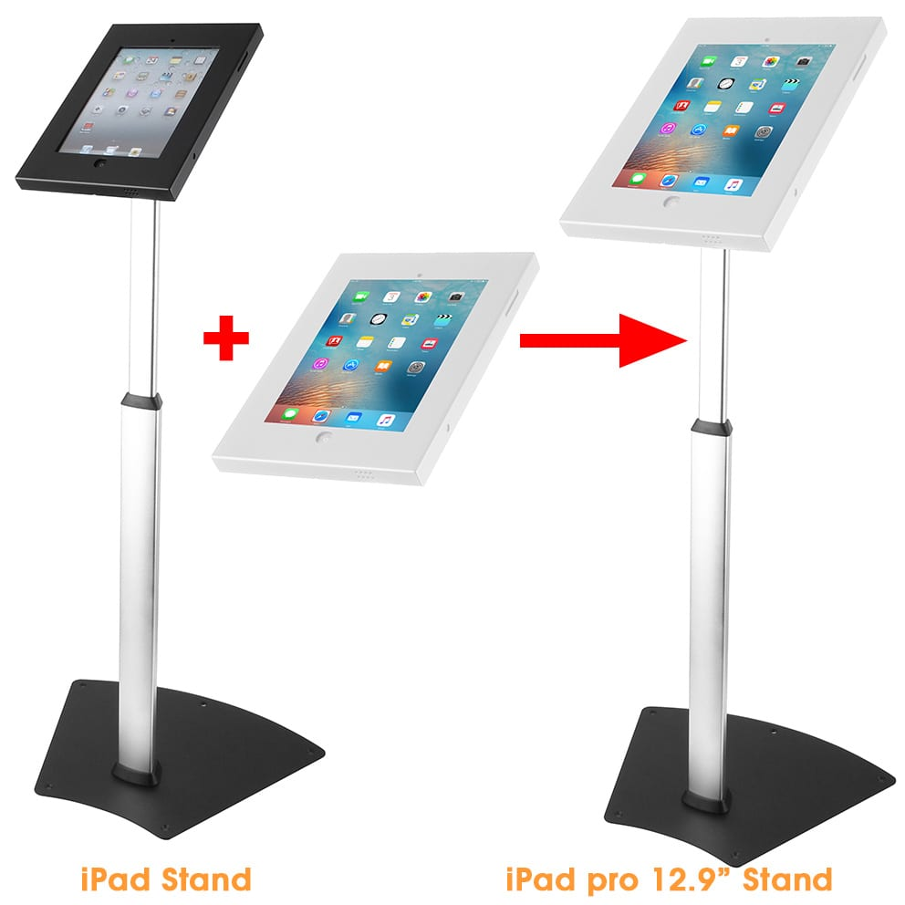 "Anti-theft iPad stand to iPad Pro floor stand with 12.9"" big security enclosure"