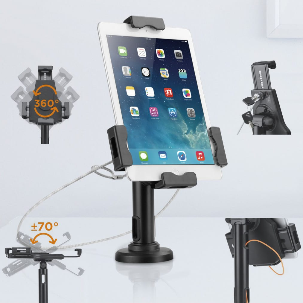 pad2102 anti-theft universal tablet kiosk stand with lock features