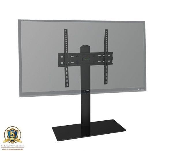 TB01BB TV table stand, up to VESA 600x400, 30Kg, black glass, black tube