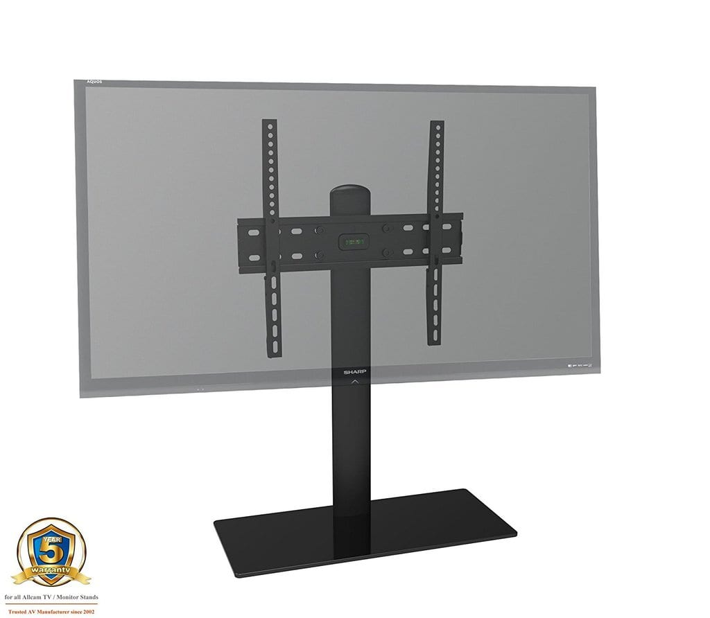 TB01BB TV table stand, up to VESA 600x400, 30Kg, black glass, black tube