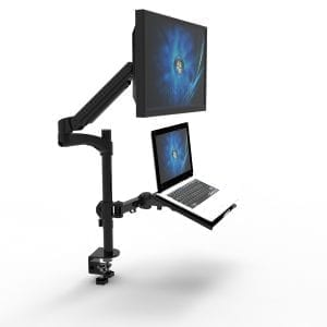workstation with gas spring monitor arm and laptop tray